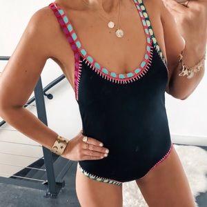 Platinum Crochet-Trim Strappy One-Piece Swimsuit